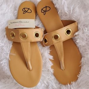 Womens Camel Color With Gold Grommets Sandals